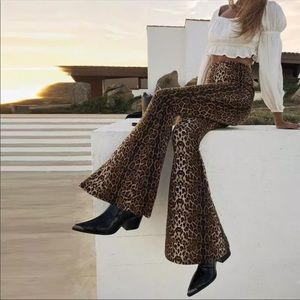 Leopard Print High Waisted Flare Leg Pants